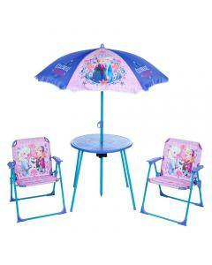 Disney frozen hagesett med stoler, bord og parasoll