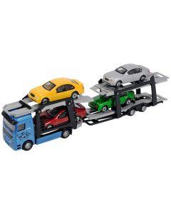 Die cast biltransporter med 4 biler - 28cm