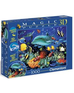 Clementoni magic 3D puslespill dolphin reef - 1000 biter