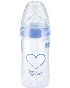 NUK My love blå tåteflaske 150 ml - silikon