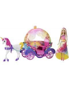 Barbie Dreamtopia dukke, enhjørning og vogn