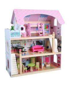 Dukkehus i tre med møbler - 16 deler