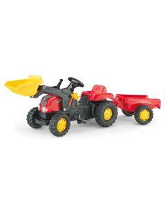RollyToys Rød traktor med grabb og tilhenger - plasthjul