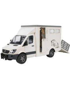 Bruder MB Sprinter dyretransport inkl. 1 hest. - 02533