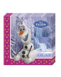 Disney Frozen servietter Olaf og jentene - 33 x 33 cm