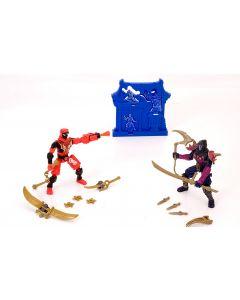 Ninja Morph Battle 2 figurer - rød og blå figur