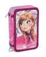 Disney Frozen dobbelt pennal med innhold og glidelås