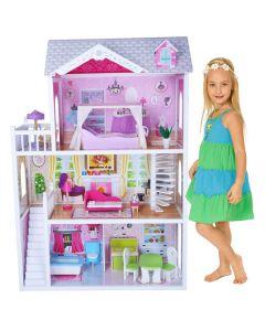 Dukkehus i tre - møbler inkludert - 14 deler - 3 etasjer