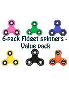 6-pack med Fidget spinner - value pack