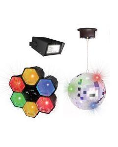 Diskosett med lysorgel, diskokule og strobelys