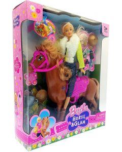 Dukke med hest og tilbehør - 29cm