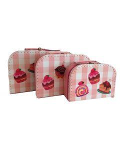 Koffertsett i tre deler - cupkakes-motiv