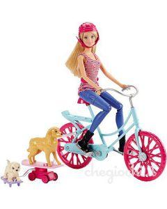 Barbie dukke med sykkel og kjæledyr