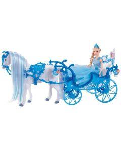 Hestekjerre med dukke - batteridrevet - hesten går av seg selv!