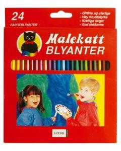 Malekatt fargeblyanter - 24 stk
