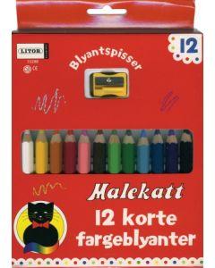 Malekatt korte fargeblyanter med blyantspisser