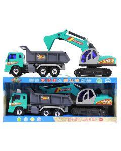 Lastebil og gravemaskin