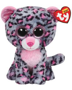 Ty Tasha pink/grey leopard medium  - ca 22 cm