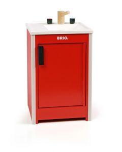 BRIO Kjøkkenvask med skap i tre - rød