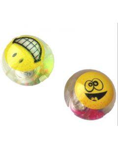 Sprettball smiley med blinkende lys - assortert pr.stk
