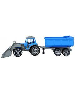 Plasto Traktor med frontlaster og tilhenger som kan tippe 58cm - blå