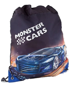 Monster Cars gymbag - blå