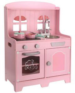 Rosa kjøkken i tre med lydfunksjon