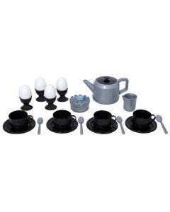 Plasto kaffeservice i sort og hvite farger