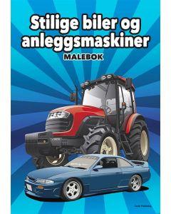 Malebok stilige biler og anleggsmaskiner
