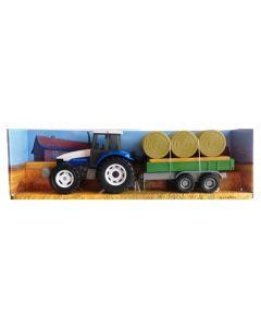 Traktor med tilhenger og halmballer 1:32