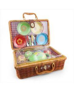 Fantorangen porselen servise i picnic-kurv