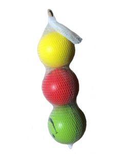 Myke plastballer med smiley 3 stk i nett 6.25cm