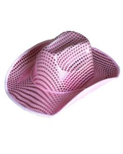 Cowboyhatt med paljetter - rosa