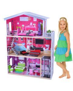 Dukkehus i tre - møbler inkl - 10 deler - 3 etasjer