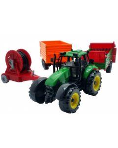 Bondegårdsett - traktor med 3 tilhengere