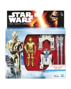 Star Wars The Force Awakens R2, D2 & C-3PO figursett - 9.5cm