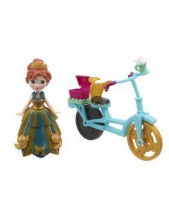 Disney Frozen liten dukke med tilbehør - Anna med sykkel