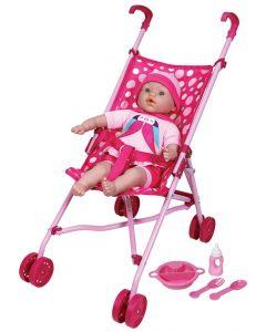 Lisse babydukke med paraplytrille -  41 cm