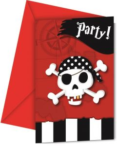Invitasjonskort pirat - 6 stk