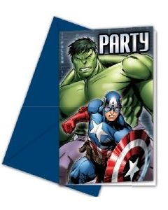 Avengers power invitasjoner med konvolutt - 6 stk