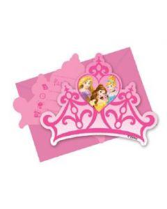 Disney Princess dreaming invitasjoner med konvolutt - 6 stk
