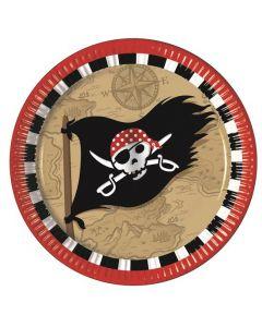 Papirtallerken pirat 8 stk - 23 cm