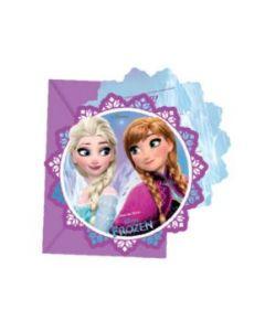 Disney Frozen invitasjoner med konvolutt - 6 stk