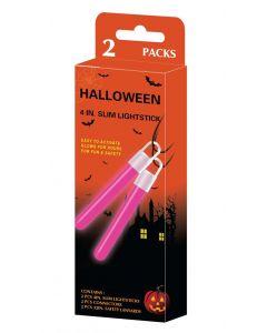 Glow in the dark halloween lysstav 2 stk. - grønn