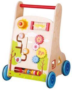 Lær-å-gå vogn i tre - med mange gøye aktiviteter