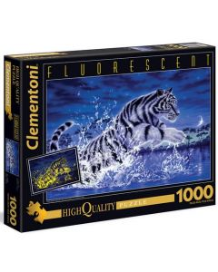 Clementoni fluorescent puslespill tiger - 1000 biter