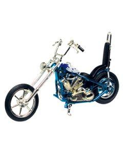 Motormax blå og hvit Iron Chopper-motorsykkel - 1:18