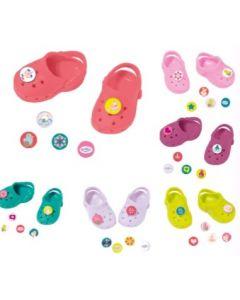 Baby Born Crocs med pins - lys rosa