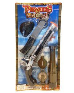 Piratsett med pistol, kniv og kikkert