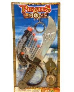 Piratsett med sverd, pistol og kuler